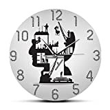hufeng Reloj de Pared Edificio en construcción Reloj de Movimiento silencioso Decorativo Arquitectura Arte de la Pared...