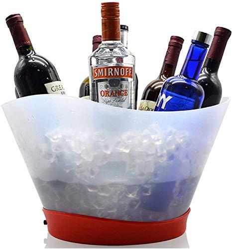 Cubiteras Ice Bucket para Interior y Exterior 12L Tenedor de bebida de vino de cucharón de hielo LED grande 12L puede contener 13 cervezas embotelladas de 330 ml / 7 champán embotellados para fiestas,