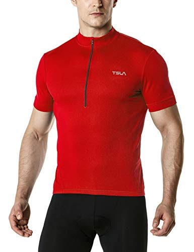 TSLA Men's Cycling Triathlon Jersey Bike Breathable Reflective Quick Dry Short Sleeve Biking Shirt, Unique(mct01) - Red, XXX-Large