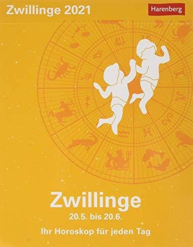 Zwillinge Sternzeichenkalender 2021 - Tagesabreißkalender mit ausführlichem Tageshoroskop und Zitaten - Tischkalender zum Aufstellen oder Aufhängen - Format 11 x 14 cm