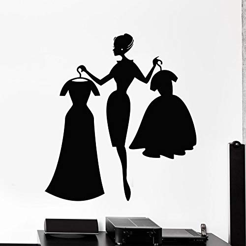 Shop Wall Decal Fashion Girl Shopping Clothing Store Interior Decor Dresses Vinyl Window Stickers Girls Bedroom Art Mural