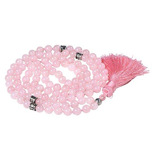 Fukugems mala Perlen Kette für Damen Mann, Mala Armband, Buddhist Meditation Kette, rose quartz tassel mala