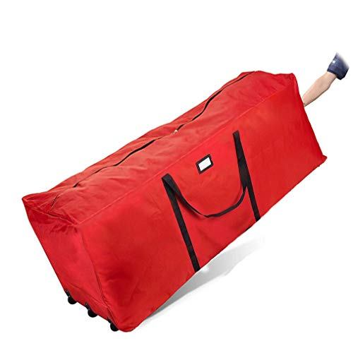 Primode Rolling Tree Storage Bag, Fits Up to 9 ft. Disassembled Holiday Tree, 25' Height X 20' Wide X 60' Long, Extra Large Heavy Duty Storage Container with Wheels and Handles (Red)