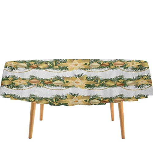 prunushome Christmas Table Cloth Cover Classical Garland Design with Fir Branches Borders with Poinsettia Flowers 100% Polyester Circular Wrinkle Free Gold White Green (70' Round)