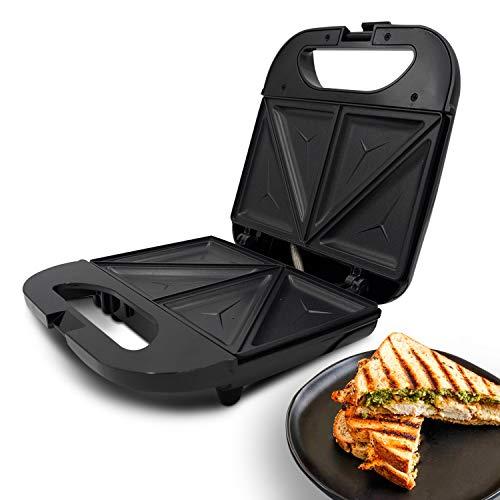 Geepas 800 W Sandwich-Maker für 2 Scheiben – kocht leckere knusprige Sandwiches – Cool-Touch-Griff, automatische Temperaturkontrolle und Antihaft-Platte – Frühstückssandwiches & Käse-Snack