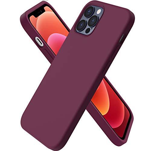 ORNARTO Funda Silicone Case Compatible con iPhone 12 6,1 , iPhone 12 Pro Protección de Cuerpo Completo,Carcasa de Silicona Líquida Suave Case para iPhone 12 12 Pro (2020) 6,1 Vino Rojo