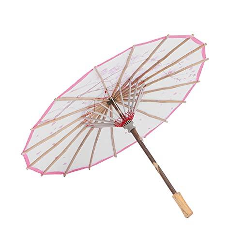 Paraguas engrasado, Paraguas Decorativo Retro con Mango de Madera, Flores Impresas, Danza clásica China, Paraguas de Papel engrasado para Disfraces, fotografía, decoración