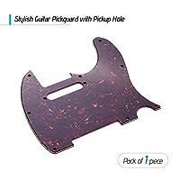 Tickasエレクトリックギターブラウンカメ用シングルコイルピックアップホール付き3Pギターピックガード