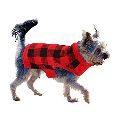 ASENKU Dog Sweater, Pet Turtleneck Sweater for Small Medium Large Dogs, Winter Warm Pet Christmas Sweater with Leash Hole, Red, XL