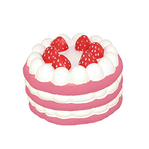 "Squishy Stress Toys Slow Rising 4.3"" Birthday Cake Pink"