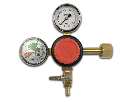 "Taprite T742HP Primary CO2 Regulator, Dual Gauge, 5/16"" barb, Red"
