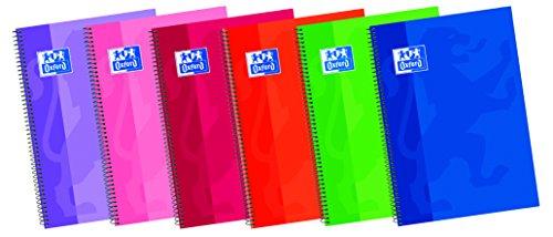 Oxford - Cuaderno espiral con margen milimetrado y tapa extradura, 80 hojas, 1 unidad, colores surtidos