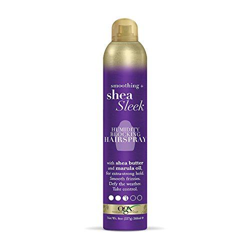 OGX Smoothing + Shea Sleek Humidity Blocking Hairspray, 8 Fl Oz (64012)