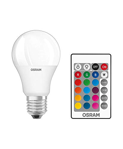 Osram LED Star+ Classic A RGBW Lampe, in Kolbenform mit E27 Sockel, dimmbarkeit und Farbsteuerung per Fernbedienung, Ersetzt 60 Watt, Warmweiß - 2700 Kelvin, 2er-Pack
