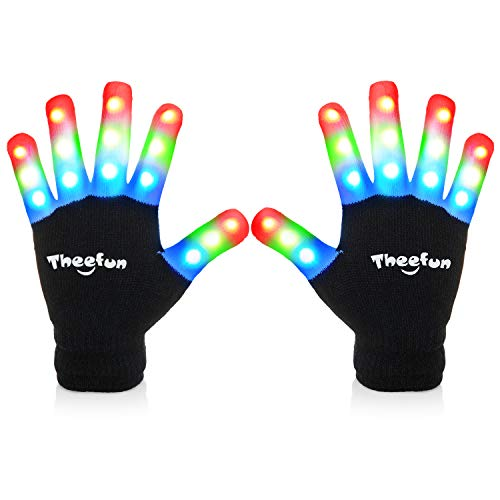 Theefun Led Gloves with Extra 4 Batteries for Kids, Kids Finger Light Up Flashing Gloves Party Costume Glow Toys for Boys and Girls, Medium