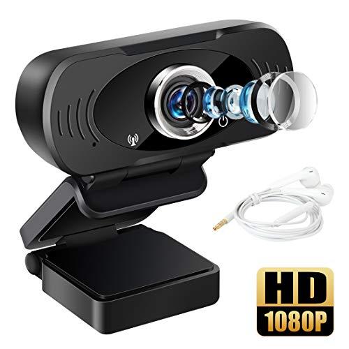 LAMA 1080P HD Webcam mit Mikrofon USB Webkamera mit 3,5mm Kopfhörer für PC Laptop Mac ChromeOS Android Konferenz Videoanruf Online Unterricht Live Streaming Skype FaceTime Hangouts usw.