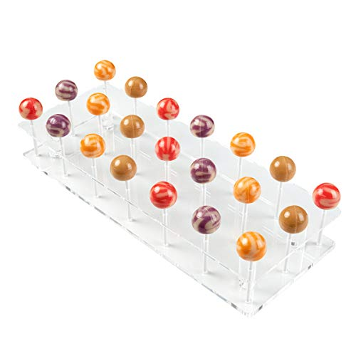 NIUBEE Lollipop Display Stand, Clear Acrylic Cake Pop Holder for Baby Shower on Candy Table – 21 Holes