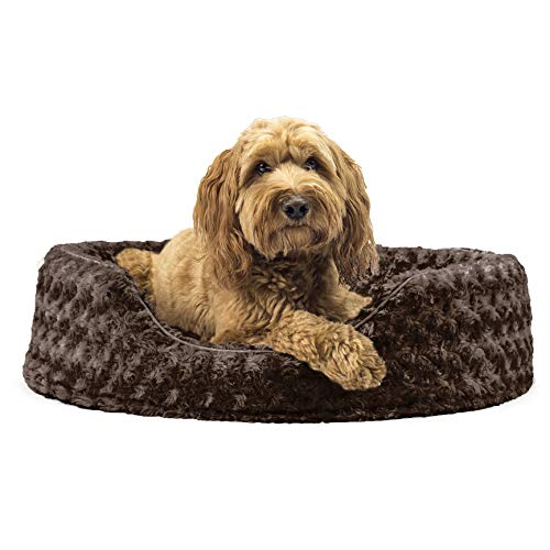 Furhaven Pet Dog Bed - Round Oval Cuddler Ultra Plush Faux Fur Nest Lounger Pet Bed for Dogs and Cats, Chocolate, Large
