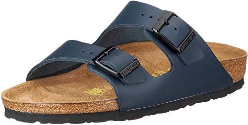 Birkenstock Classic Unisex-Erwachsene Arizona Leder Pantoletten, Blau (Blau), 45 EU