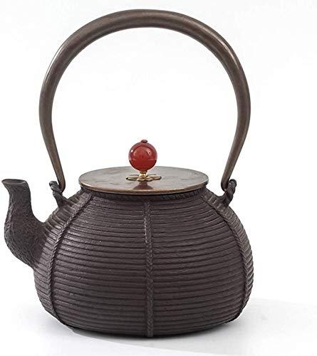 Teteras de hierro fundido Tetera sin revestimiento Hierro fundido Tetera de hierro Tetera de hierro Caldera de agua para té suelto y bolsitas de té 1L