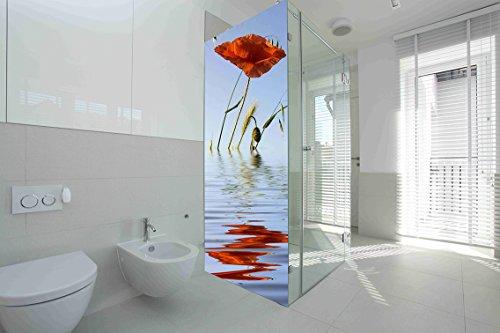 Vinilo para Mamparas baños Amapola en Agua |Varias Medidas 70x185cm | Adhesivo Resistente y de Facil Aplicación | Pegatina Adhesiva Decorativa de Diseño Elegante|