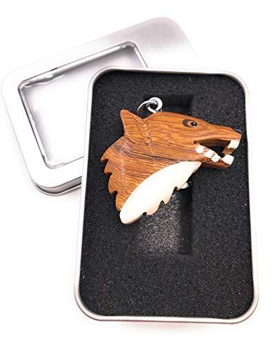 Onwomania Cabeza de lobo de madera peligroso animal depredador perro paquete animal con pezuña...