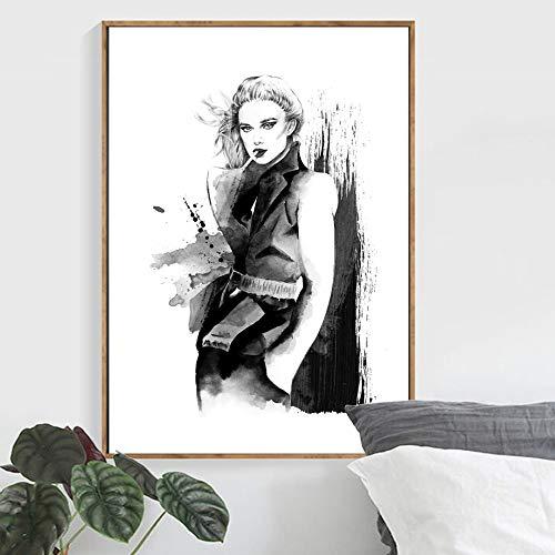 KWzEQ Paris Fashion Girl Lienzo Pintura Mural Modelo nórdico póster Imagen en Blanco y Negro decoración del hogar-Pintura sin marco80X105cm