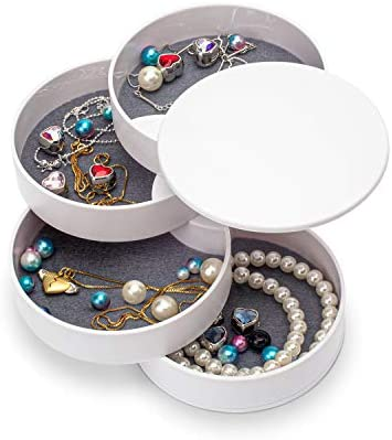 Jewelry Organizer Small Jewelry Box Earring Holder for Women Jewelry Storage Box 4 Layer Rotatable product image