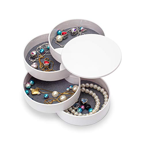 Jewelry Organizer, Small Jewelry Box Earring Holder for Women, Jewelry Storage Box 4-Layer Rotatable Jewelry Accessory Storage Tray with Lid for Rings Bracelets