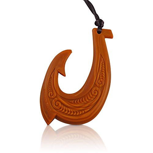 Wood Design Fish Hook Silicone Chew Necklace - Silicone Teether for Children w/ADHD, and Autism- Therapeutic Silicone Teething Necklace, Hawaiian Style Chew Toy for Boys and Girls