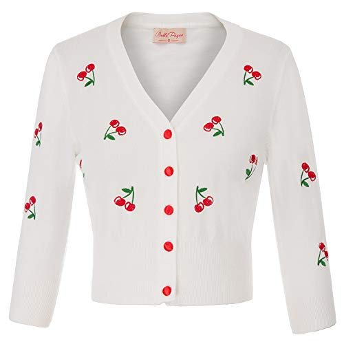 Women's Classic V-Neck Soft Cherries Embroidery Knitwear Cardigan Sweater Coat Cream White Size XL BP609-2