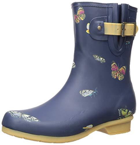 Chooka Women's Mid-Height Printed Rain Boot with Memory Foam Calf, Butterfly, 9