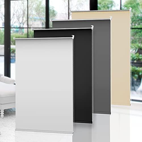 OBdeco Estor opaco Klemmfix térmico, 60 x 210 cm, color blanco, sin agujeros, revestimiento plateado, protección visual, para ventanas y puertas