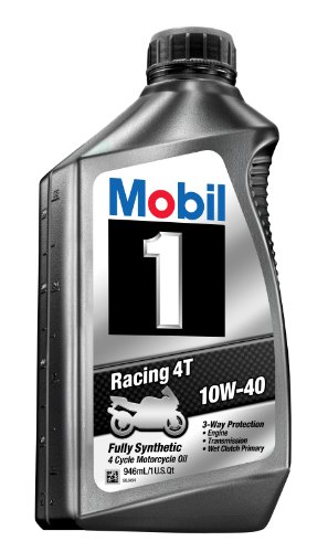 Mobil 1 98JA11 10W-40 Racing 4T Motorcycle Oil for Sport Bikes - 1 Quart (Pack of 6)