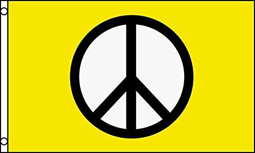 AZ FLAG Bandera SÍMBOLO DE LA Paz Amarillo 150x90cm - Bandera Amarilla Peace 90 x 150 cm