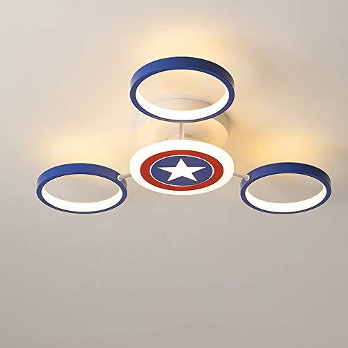 Lámpara infantil LED Lámpara de techo Regulable 3000K/4000K/6000K Lámpara de dormitorio Capitán América Shield Lámpara de habitación infantil Techo de lámpara Metal Acrílico Luz de techo,Ø60x11cm 40W