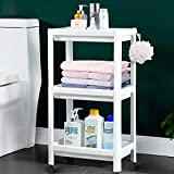 Flowmist 3 Tier Slim Rolling Organizer Storage Cart Rolling Laundry Cart Bathroom Shelves Organizer, with Wheels for Bathroom Laundry Pantry Kitchen Narrow Places
