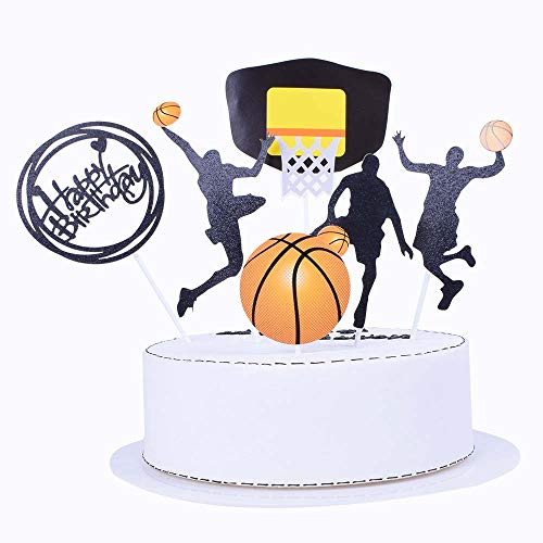 SHAMI Basketball theme cake topper for Boy birthday CupCake Topper Party Decorations Happy Father Birthday Supplies Decorations Man Birthday(Black)