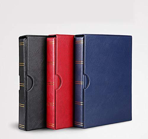 HYDD postzegels verzamelalbum postzegelalbum insteekboek gewatteerd, 20 evenementpagina's, zwart interieur, met stofdichte afdekking zwart, rood, blauw