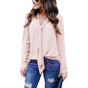 Yidarton Women V Neck Chiffon Long Sleeve Solid Color Casual Tops Shirts Blouse:Carsblog
