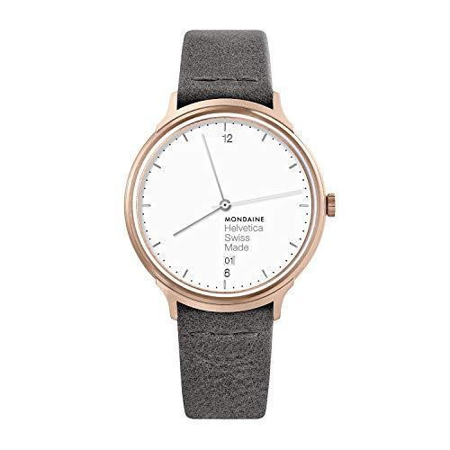 Mondaine Helvetica Wrist Watch Women (MH1.L2210.LH) Swiss Made, Rose Gold Stainless Steel IP Plated Case, White Face, Silver Hands and Numbers