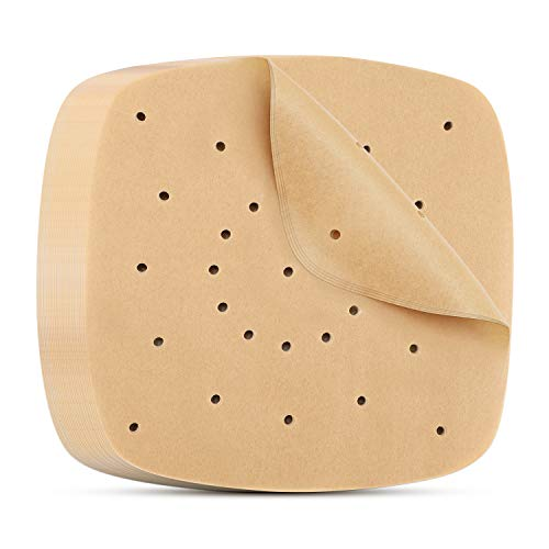Perforated Parchment Paper 7 Inch, Beasea 200pcs Air Fryer Parchment Paper White Air Fryer Liners Square Air Fryer Filter Paper Bamboo Steamer Papers for Air Fryer and Steaming Basket
