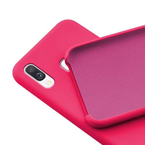 N NEWTOP Custodia Cover Compatibile per Samsung Galaxy A40, Ori Case Guscio TPU Silicone Semi Rigido Colori Microfibra Interna Morbida (Fucsia)