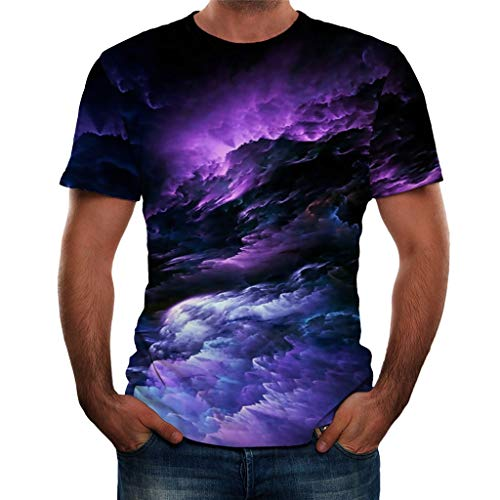 Xmiral T-Shirt Herren 3D Gedruckte Kurzärmlig Rundkragen Tops Shirt für Männer Summer Einfach Atmungsaktiv Persönlichkeit Hemden Bluse Oberteile(Violett,XXL)
