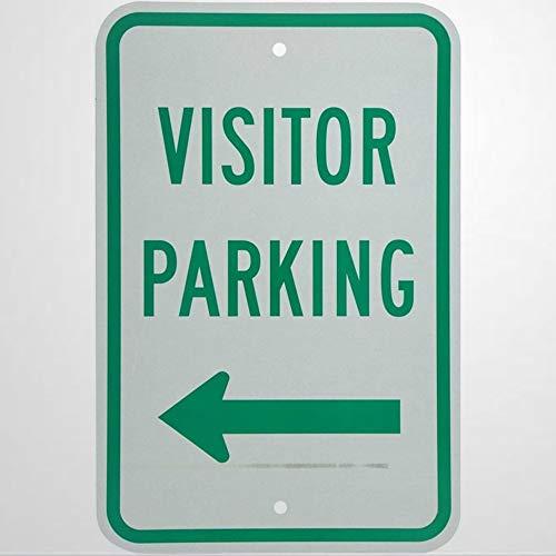 Señal de advertencia para visitante con flecha izquierda verde sobre blanco señal de carretera 8 x 12 signo de negocios de aluminio metal estaño para exteriores