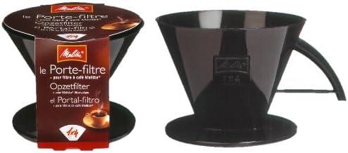 Melitta Soporte para filtros de plástico, Preparación de 8 a 12 tazas, Para filtros de café 1x4, Negro