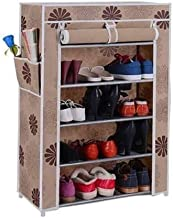 Shoe Rack with Cover Having 4 Shoe Shelf, Multipurpose and Foldable Shoe Storage Organizer with Iron Pipe and Non Woven Fabric Cover, Front Closable Zippered Roll up and Roll Down Door