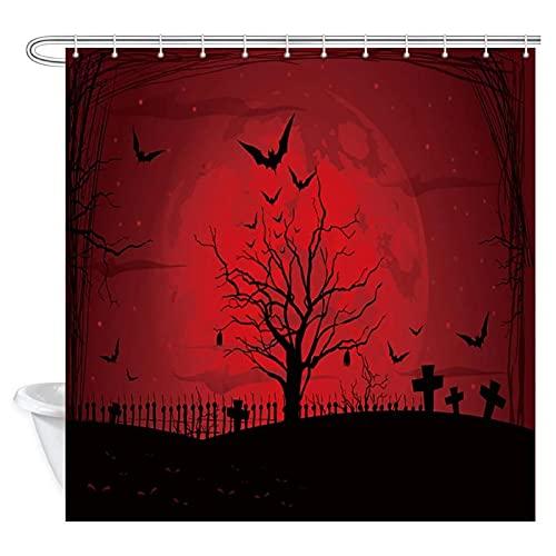 Gruseliges Halloween mit Mond & Kürbissen in dunkelroter Nacht abstrakte Polyester-Badevorhänge Duschvorhänge für Badezimmer mit Haken-180x180cm