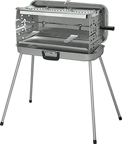 Berger 3-Flammen Koffer-Gasgrill silber 50 mbar inkl. Grillspieß mit 2 Fleischklammern Ausführung mit Kochplatte Edelstahl Bild