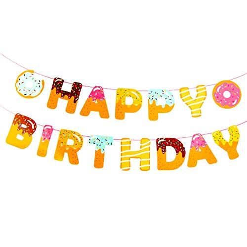 DIWULI, Happy Birthday slinger om op te hangen, spreukenband donut kleurrijk, wimpel-ketting belettering, verjaardagsslinger, verjaardagsbanner voor verjaardagsfeest, tuinfeestdecoratie, motto party, decoratie